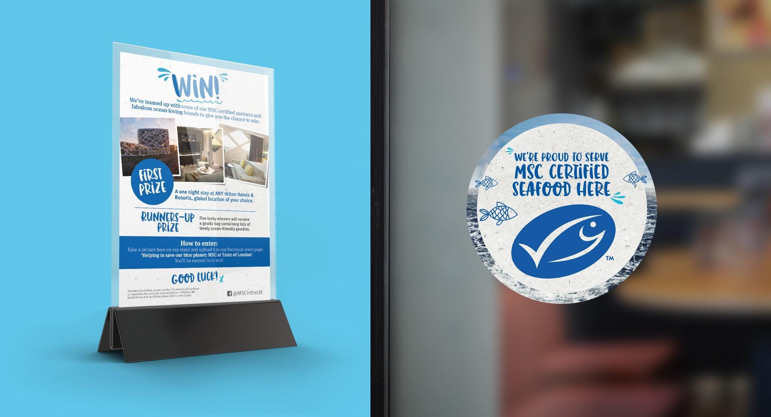 MSC anniversary – Counter card and window sticker