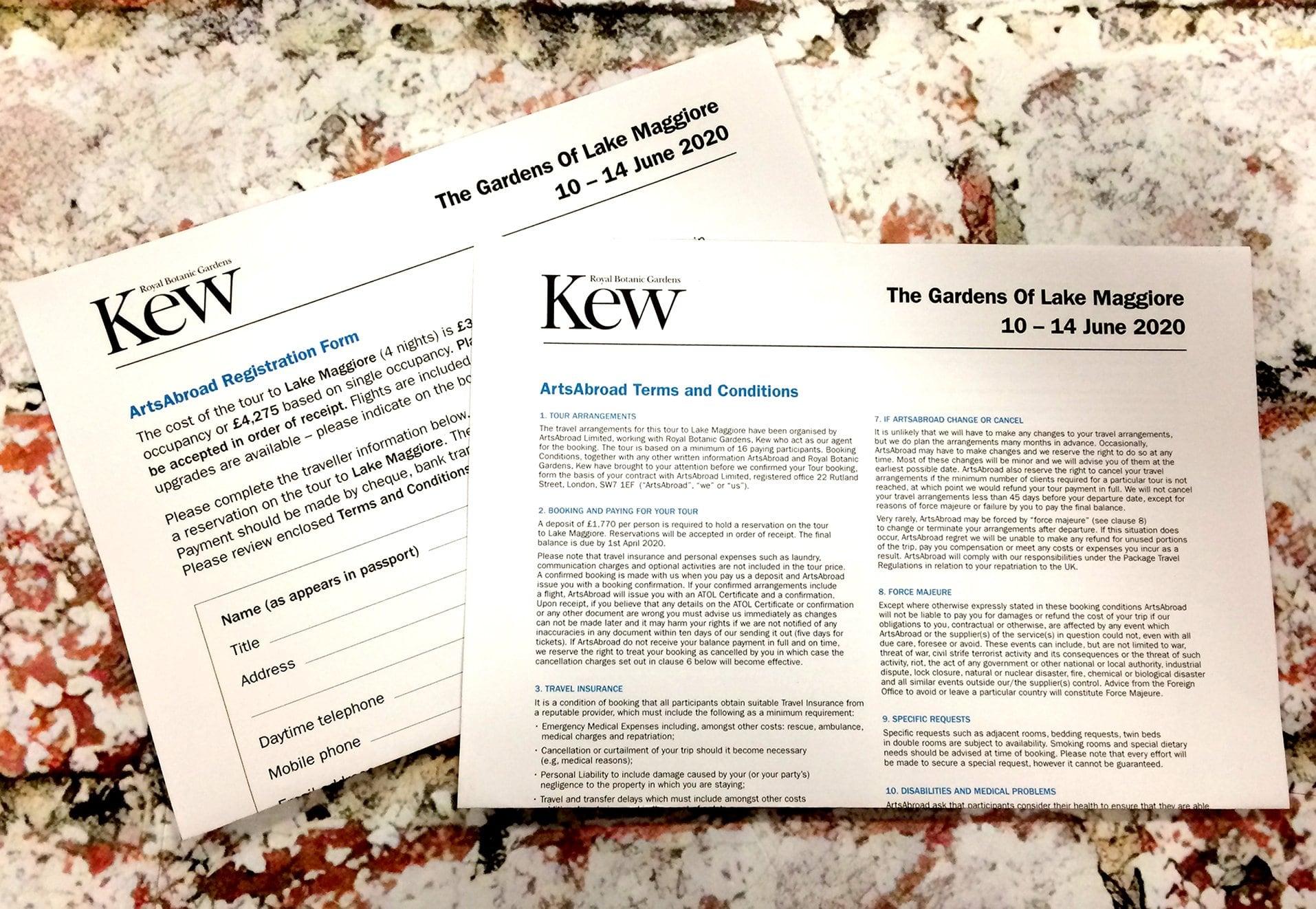 Kew Italy Trip Printed Material Letter